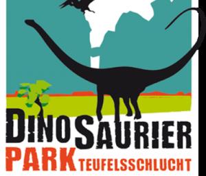 """Logo with dinosaurs written """"Dinosaurierpark teufelsschlucht"""""""