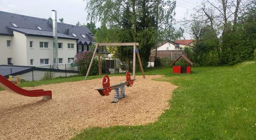 Playground with swings and seesaw